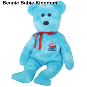 TY BEANIE BABIE * PINTA * THE BLUE CHRISTOPHER COLUBUS TEDDY BEAR TY STORE EXCL