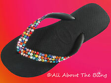 Havaianas flip flops or Cariris wedge using SWAROVSKI crystals random colors