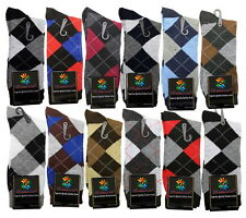 12 PAIRS NEW COTTON MEN LORDS ARGYLE STYLE DRESS SOCKS SIZE 10-13 MULTI COLOR