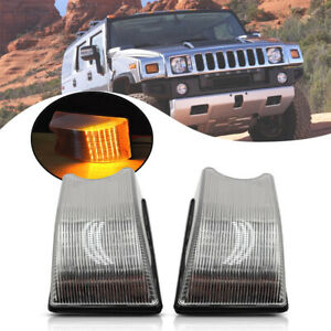 2Pcs Front Amber Led Cab Roof Light for Hummer H2 03-09 Clear Clearance Top Lamp