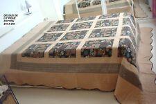 DESSUS DE LIT COUVERTURE MATELASSE PIQQUE COTTON PATCHWORK 240 X 250 2 PERSONNE
