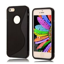 FUNDA DE SILICONA TPU GEL GOMA PARA IPHONE 5C COLOR NEGRO NEGRA S LINE CALIDAD