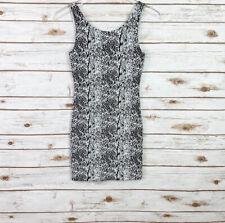 Divided H&M women's size 4 snakeskin pattern stretch bodycon dress black white