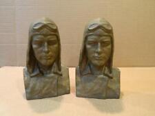 Rare Charles Lindbergh Cast Iron Bookends Novak Foundry Detriot Mi.Vintage
