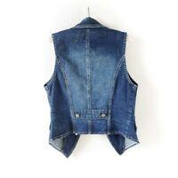 Ladies Denim Waistcoat Gilet Vest Jeans Fade Fitted Lapel Sleeveless Jacket Tops