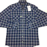RM Williams Mens Long Sleeve Pearl Snap Blue Check Slim Fit Keith Shirt 2XL XXL