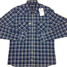 RM Williams Mens Long Sleeve Pearl Snap Blue Check Slim Fit Keith Shirt 2XL XXL