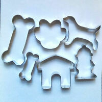 Dog Bone Paw Kennel Fire Hydrant Biscuit Cookie Cutter Set Fondant Baking mold