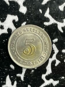 1910 Straits Settlement 5 Cents Lot#X6554 Silver! Nice!