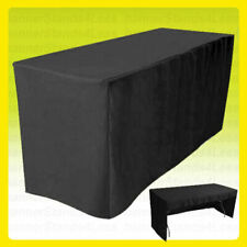 8 Fitted Tablecloth Table Cover Trade Show Event Open Back 3 Sided Black