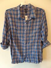 Gap Womens XXL Boyfriend Fit Cotton Rayon Soft Plaid Blue Pink B/F Shirt New