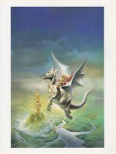"1990 Vintage KEN KELLY ""SKY RIDERS"" COUPLE ON DRAGON COLOR Art Plate Lithograph"