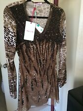 NWT Blumarine Blugirl Follies Brown Animal Print Silk Sequined Dress. Sz44.Italy