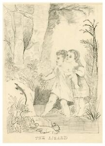 """An Antique Drawing Of Children At Play In The Forest """"The Lizard"""""""