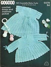 VINTAGE CROCHET PATTERN DRESS & MATINEE JACKET FOR BABY