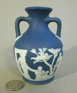 "Old 1840s Antique WEDGWOOD ONLY Jasperware Dark Blue Miniature 4"" PORTLAND VASE"