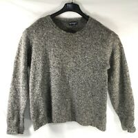 VTG Lands' End Large CHUNKY WOOL Knit FLECKED Gray Pullover Sweater Made in USA