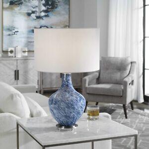 "COVE MODERN SWIRL ART GLASS 25"" ACCENT TABLE LAMP UTTERMOST 28482"
