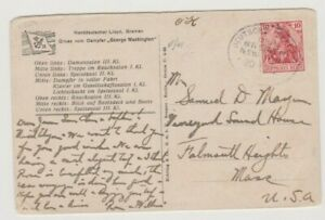 INTERSTING GERMANY 1912 PPC POSTED TO USA DEUTSCHE SEEPOST LINE CANCEL 78*