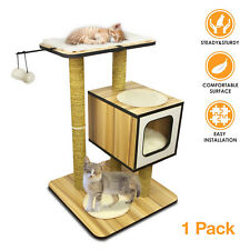 """32"""" Wood Kitten Cat Tree Tower Condo Furniture Scratching Kitty Pet Play House"""