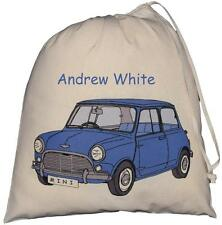PERSONALISED - BLUE MINI - LARGE COTTON DRAWSTRING BAG - PE Kit - CAR