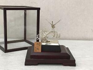 Y2678 OKIMONO Sterling Silver Pine Hawk glass case Japan antique decor interior