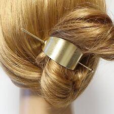 Brass Metal Ellipse Leaf Hair Slide Barrettes
