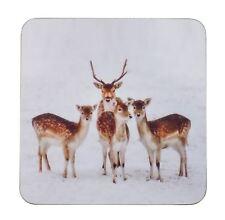 Navidad Invierno Fallow CIERVO Familia Marrón Dorso De Corcho Posavasos 12cm X