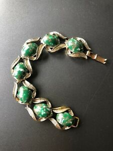 VINTAGE COSTUME JEWELLERY BRACELET SIGNED EXQUISITE 1950s Green & Gold Lucite