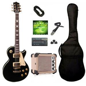 Chitarra Elettrica Les Paul Nera con Amplificatore e Accessori Set Completo