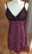 Ladies Size 12 Pink Black Mesh Floral Embroidery Evening Eucalyptus Dress