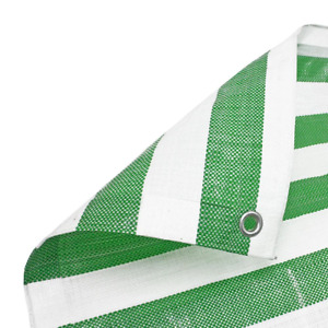 Green White Striped Market Stall Tarpaulin Heavy Duty 170gsm