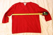 RED Cashmere NWOT V Neck 3/4 sleeve xl extra large sweater Autumn Holiday trendy