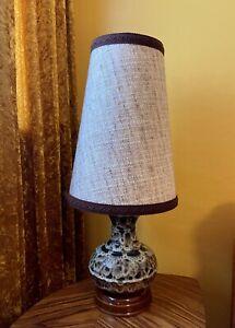 Vintage Lamp Fat Lava Glaze Ceramic Pottery Mid Century Retro 1960s 1970s