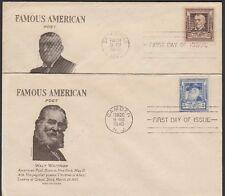 1940 Famous American Poets Whitman 5c Riley 10c Sc 867-8 FDCs Grimsland Cachet