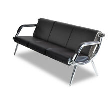 3-Seat Office Guest Chair Furniture Bank Reception Barber Waiting Room, Black