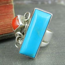 Southwestern Running Bear Shop Turquoise & Coral Sterling Silver Wrap Ring