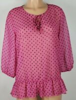 Sweet Pea for NY & Co. Women's Med Pink Black Blouse Sheer Polka Dots ¾ Sleeve