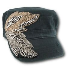 NWT Olive & Pique Bling Vintage Beaded Double Leaves Deco Black Cadet