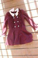 Girls Trish Scully Burgandy long sleeve School Girl dress 8 UNIQUE