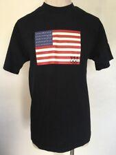 VTG 90s ~ OFFICIAL USA OLYMPICS AMERICAN FLAG Graphic T Shirt ~ Black ~ Medium