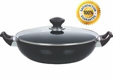 Nonstick 33cm Chinese Wok With Glass Lid Karahi Large Professional Cooking Pan