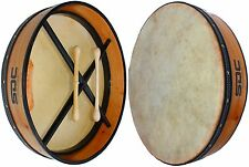 BODHRAN DRUM Irish Celtic 18 Inch Drums + CASE + 2 Tippers NATURAL 01
