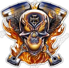 "Biker Skull Engine Bike Chopper Motorcycle Car Bumper Vinyl Sticker Decal 4.6"""