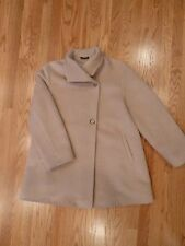 CINZIA ROCCA A-LINE CAR COAT 88% BABY LAMA WOVEN IN ITALY USA SIZE 6 LIGHT BEIGE