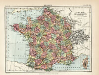 Antique Map Of France Departments  1880