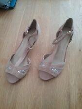 M & S   women Stone Beige Peep Toe Kitten HeelAnkle Strap Shoes 7.5 Wide