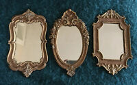Set of 3 Ornate Gold Carved Wall Mirror Italian Florentine Hollywood Regency