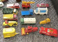 Matchbox Lesney & Superfast 12 Car Truck Junkyard Lot 1 Gray Wheel Fire Trailer+