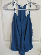 New Women's Lily White Racerback Open Front Sexy Turquoise Blue Tank Top Size XS